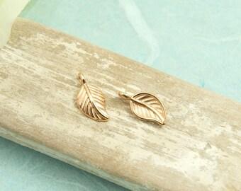 2 pcs. charm leaf rosegold pl.  #4074