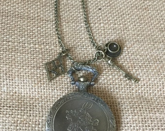 White Rabbit,  Alice in Wonderland large necklace watch with charms