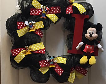 Front Door Decor, Door Decor, Disney Wreath, Mickey Mouse Wreath, Mickey Mouse, Donald Duck, Pluto, Goofy Wreath, Kid's Wreath