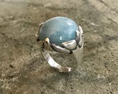 Aquamarine Ring Natural Aquamarine March Birthstone Vintage Rings Large Stone Large Ring Large Statement Ring Solid Silver Ring