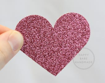 Heart Confetti, Large Hearts, 50 Hearts, Pink Confetti, Pink Heart Confetti, Glitter Heart Confetti, Pink Glitter Confetti, Hand Punched