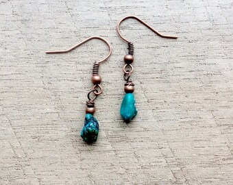 Rough Turquoise Earrings, Turquoise Earrings, Turquoise Jewelry, Dangle Earrings, Rustic Modern Jewelry, Free Shipping U.S.