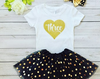 GIrl's  Three Birthday outfit, Birthday special order outfit