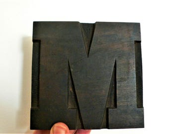 "Wood letterpress M - 4. 5/8ths "" tall - Antique WOODEN Letterpress Printing block- wood letter /  12 cm // CHUNKY industrial"