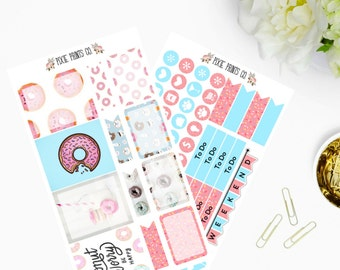 Donut Sticker Kit, Planner Stickers, for use with Erin Condren, Life Planner, Vertical Planner, Mambi, Happy Planner