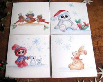 Pack of 4 beautiful Christmas cards, cute cards, Illustrated greetings Cards, Animal Christmas Cards, Cards, festive cards, Christmas cards