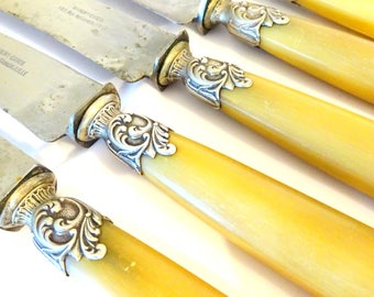 6 Vintage Sterling Silver Horn Dinner Knives French Art Nouveau Cabin Decor French Country Flatware Silverware Antique Bridal Wedding Shower