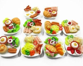 Dollhouse Miniature Food 10 Ceramic Plates Breakfast Sausage Ham Egg Supply Charms 13746