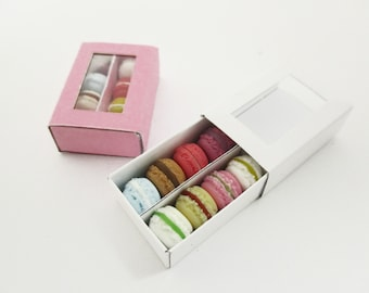 Dollhouse Miniatures Food 2 Boxes Of Color Mixed Macaroon Paper Supply Charms 13791
