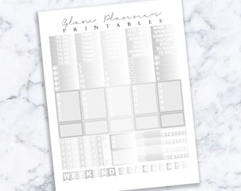 Printable Planner Stickers: Silver Foil (Erin Condren Life Planner PDF)