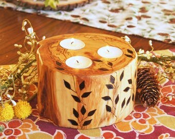 Rustic Hand-Crafted Aspen Candle with Wood-Burned Design/Easter Centerpiece/Gift for Her/ Gift for Him/ Rustic Decor