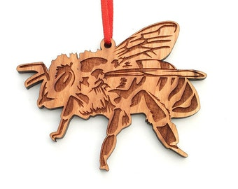 Honey Bee Christmas Ornament - Wood Christmas Ornament by Nestled Pines - Beekeeper Beekeeping Ornament Christmas Gift