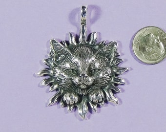Silver Statement Cat Face Sun Pendant,Handmade Sterling Silver Cat Face Sun,Cat of Mine Sun Pendant,Cat Lover Gift for Her,Blazing Sun Cat