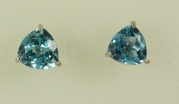 Blue Topaz 3.09ct Stud Earrings With 14K White Gold Post and Push Backs
