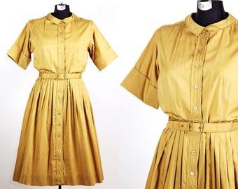 Vintage 1950s Queen Make Golden Day Dress / large xlarge