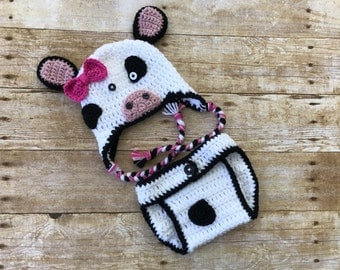 Crochet baby Cow Hat and Matching Diaper Cover Set,  Newborn Photo Prop Set