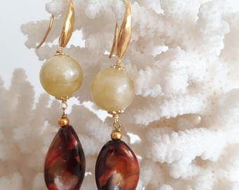 Vintage lucite beads and Silver earrings