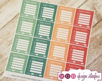 Weight Watchers Planner Stickers, Daily Points Tracker, Health and Fitness Planner Stickers