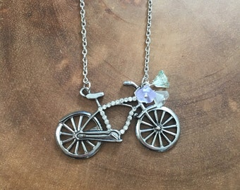 Bicycle Necklace, Bike Charm Necklace, Fall Necklace, Charm Necklace, Bicycle Pendant, Retro Jewelry, Bike Jewelry, Floral Necklace