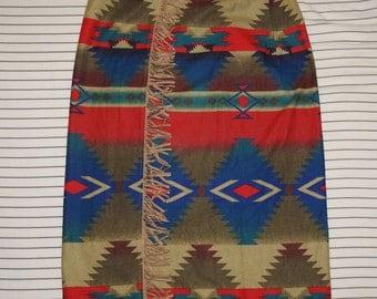 Vintage Womens WOOLRICH Tribal Geometric Ethnic Navajo Wrap Around Skirt M USA Aztec Flannel