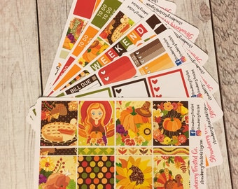 Thanksgiving Themed Kit---- Weekly Planner Kit ---- {Includes 250+ Stickers}