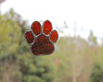 Stained Glass Paw Print Suncatcher - Paw Print - Dog Paw - Stained Glass Suncatcher - Stained Glass Paw Print - Stained Glass Dog Paw