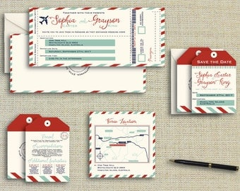 Boarding Pass Destination Invitation Printed Wedding Invitation Plane Ticket Suite PRINTED or PRINTABLE DIY