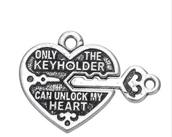 Lock & Key Heart Charm, 2 /sided, Antique Silver Plated (1M-156)