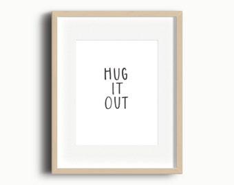 Hug It Out Playroom Art Printable | Kids Gallery Wall Printable | Playroom Art Printable