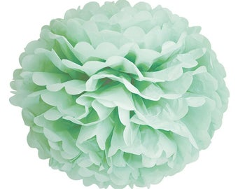 Mint Pom Poms/Tissue Paper Flower Ball/Table Backdrop Decor/Ceiling Hanging Pom Pom