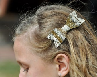 Gold glitter bow || BEST SELLER  || baby toddler girls teen glitter hair bow, 3 inch or 3.5 inch glitter hair bow, holiday hair bow