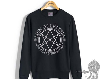 Men Of Letters Stamus Contra Malum Supernatural printed on Navy, Black, or Maroon Crew neck Sweatshirt