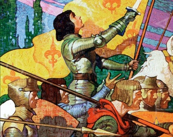 STUNNING JOAN Of ARC Illustration ! Digital Vintage Jeanne d'Arc Print. Vintage Digital Joan Of Arc Download.