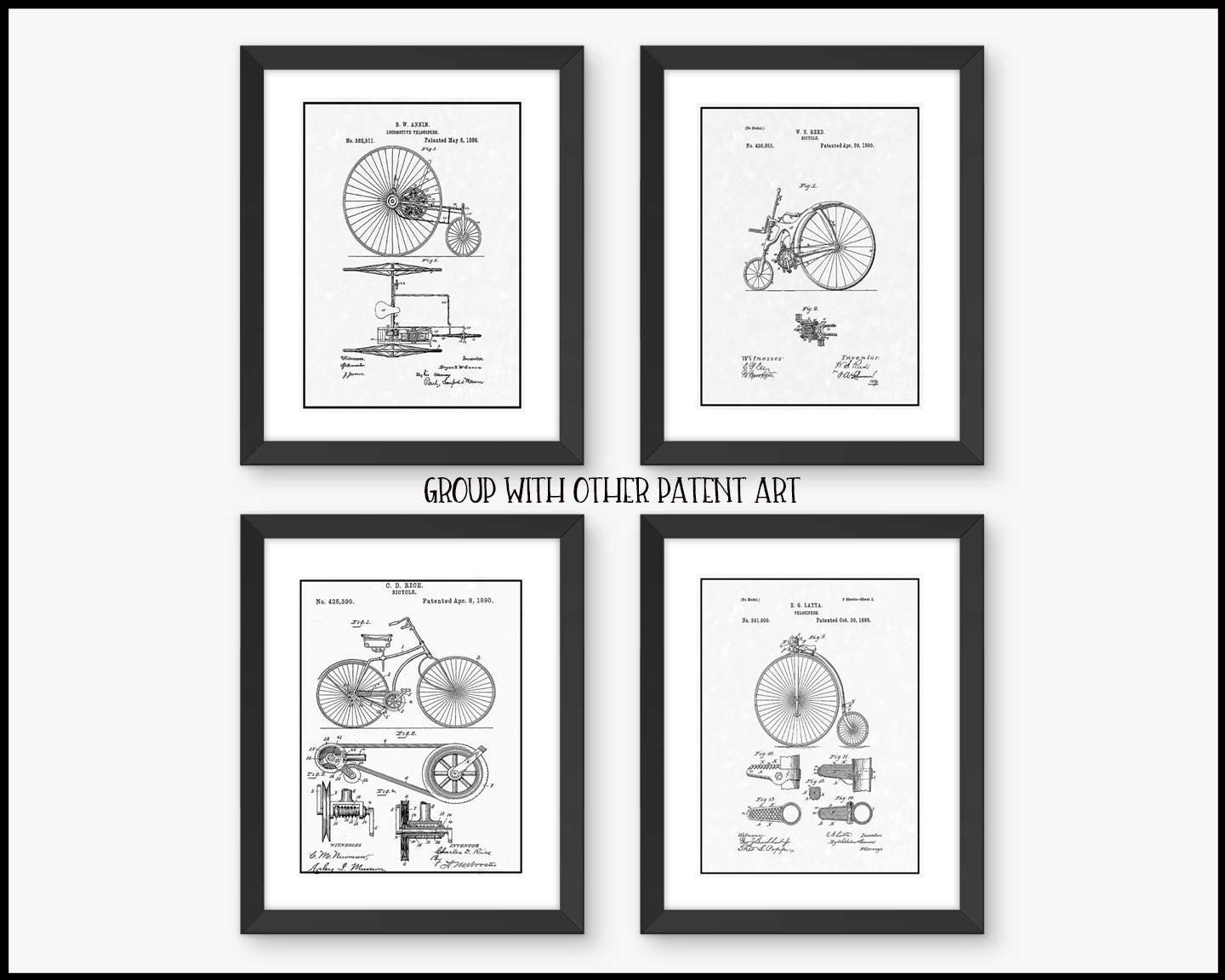 Framed Wall Art Vintage Bicycle Patent Free Shipping