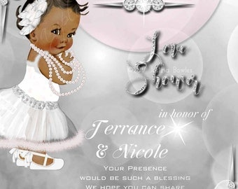 Baby Shower Invitation,  African American Baby Girl,Printable Invitation, Personalized Baby Invitation, Baby Diamonds, Personal Use only