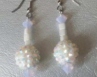 White Irredescent Opal Earrings