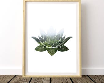 Lotus Flower, Zen Art, Lotus Print, Lotus Flower Art, Zen Decor, Yoga Print, Art Poster, Yoga Poster, Home Decor, Lotus Wall Art, Meditation