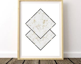 Gold Marble Print, Geometric Marble, Marble Decor, Geometric Marble Print, Geometric Marble Art, Scandinavian Poster, Nordic Design