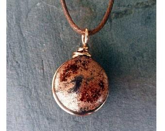 Copper Aventurine Glass Essential Oil Diffuser Aromatherapy Pendant Necklace 17.5 - 19.5in