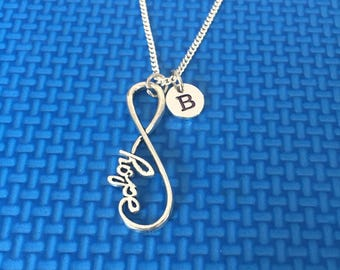 Infinity hope intial necklace ,Jewelry, Silver Jewelry, gift for someone special , jewelry,  CP40