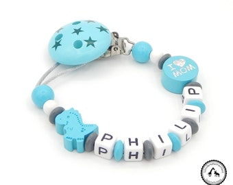 Dummy named - Dino/I love Mum/Dad in grey/turquoise/white with motif clip star - new - individually - many motifs
