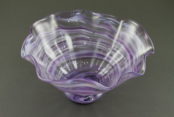 Hand Blown Footed Flutter Bowl