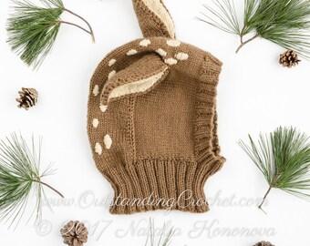 Knitting Hat Pattern - Baby Deer Hat Pattern - Balaclava Pattern - Coverall Hat with Neck Warmer - Baby - Kids - Women - Men Sizes - PDF