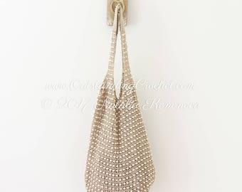 Beaded Shoulder Bag Crochet Pattern - Slouchy Beach Bag Crochet Pattern - PDF Pattern