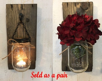 Candle holders, Rustic candle holders, Candles, Mason jar candles, Candle decor, Wall Sconces, Candle Sconces, Wood mason jar sconces