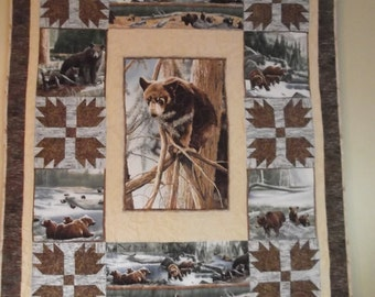 Large Quilted Wall Hanging with Bears
