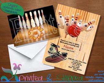 Bowling Invitation; Folded Card; Postcard; PDF; E-Card