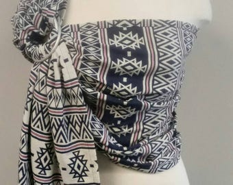 Ring Sling Baby Carrier Aztec *SALE* Tribal Blue Pink Cotton wrap carrier, baby wearing, baby carrier