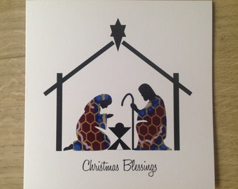 """Christmas Card/Nativity/African Wax Print Cards/Ethnic card (6"""" square)"""