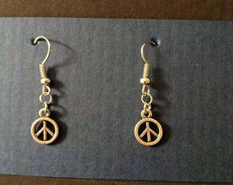 Mini silver PEACE sign with silver fishhook